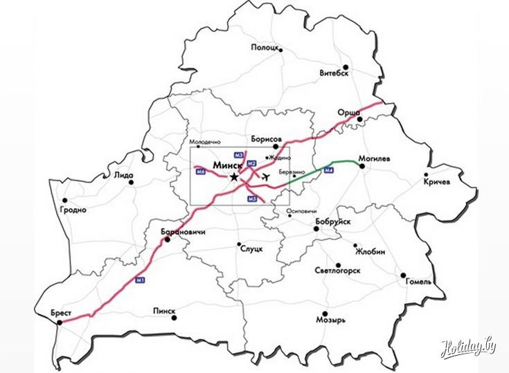 Карта платных дорог Беларуси